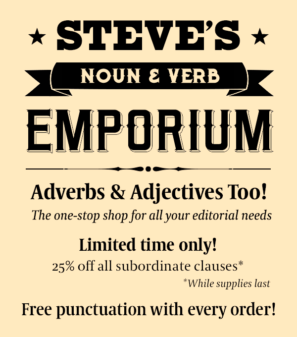 Steves Discount Noun and Verb Emporium